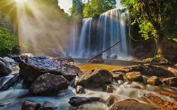 river, the sun, nature, stones, forest, waterfall, bing, phnom kulen national park