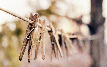retro, rope, clothespin