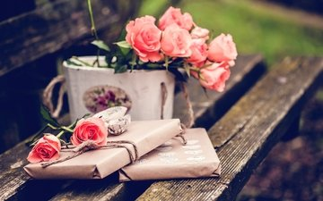 roses, bench, bouquet, gift
