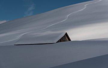 снег, природа, зима, дом, крыша, сугробы