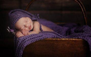 сон, дети, спит, ребенок, младенец, шапочка, покрывало, новорожденный, дитя, колыбель