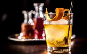 лёд, апельсин, коктейль, коктейли, виски