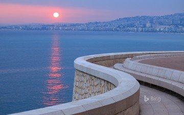 shore, sunset, landscape, sea, city, landscapes, the city, promenade, france, french, bing, cote, d'azur, azure, riviera