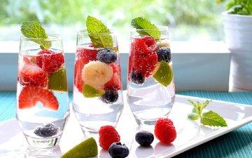 вода, малина, фрукты, клубника, ягоды, лайм, коктейль, напитки, черника, банан, ежевика