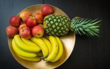 фрукты, яблоко, банан, ананас, блюдо