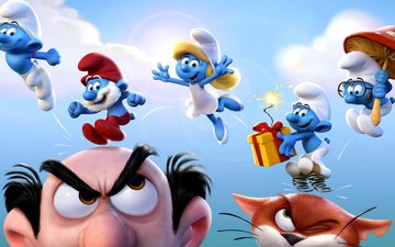 cartoon, poster, the smurfs, smurfs, smurfette