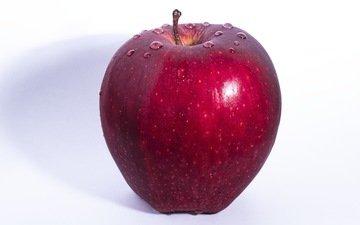 фон, капли, фрукты, яблоко, красное