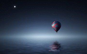 небо, свет, ночь, вода, отражение, море, полет, звезды, луна, океан, воздушный шар