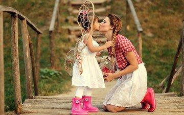 мост, девочка, любовь, ребенок, мама, поцелуй
