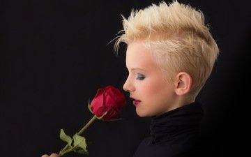 girl, blonde, flower, rose, red, model, face, short hair