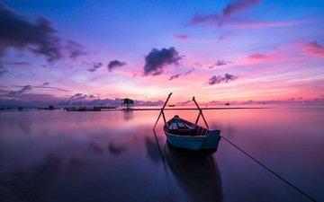 небо, солнце, природа, закат, море, рассвет, лодка, океан, отдых, вьетнам, погода