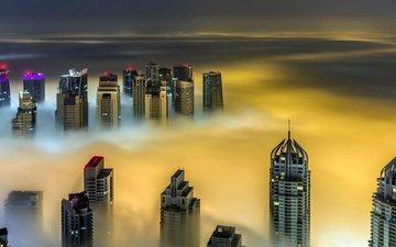 ночь, город, небоскребы, путешествия, дубаи, городской пейзаж