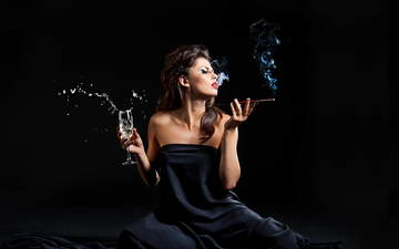 girl, smoke, squirt, profile, glass, makeup, cigarette, mouthpiece, brown hair, twilight