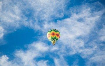 небо, полет, воздушный шар, голубое