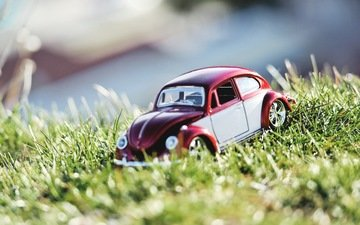grass, the sun, nature, summer, toy, car, toy car