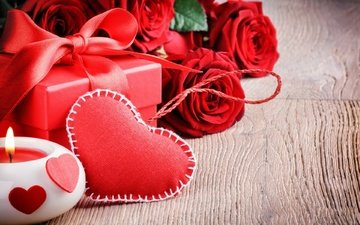 flowers, roses, heart, candle, gift, valentine's day, 14 feb