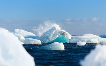 небо, вода, волны, пейзаж, лёд, брызги, айсберг, океан, антарктида, льды