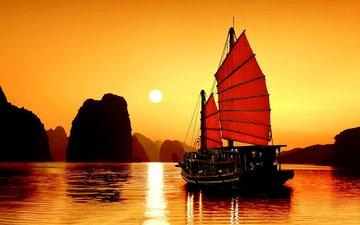 вечер, озеро, закат, пейзаж, горизонт, парусник, азия, залив, вьетнам
