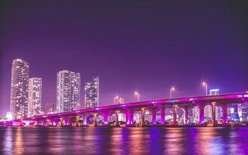 ночь, мост, небоскребы, сша, майами, сша город