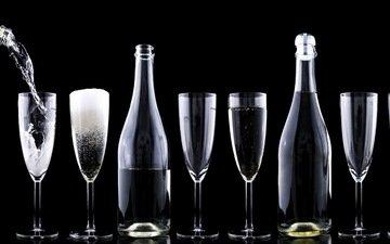 капли, вино, бокалы, бутылки, праздник, шампанское, алкоголь