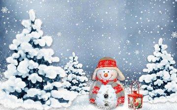 snow, new year, winter, snowman, lantern, christmas, snowfall