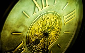 watch, time, copper, closeup, roman numerals, antique, wall clock