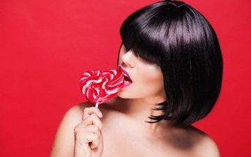 girl, heart, lips, lipstick, lollipop