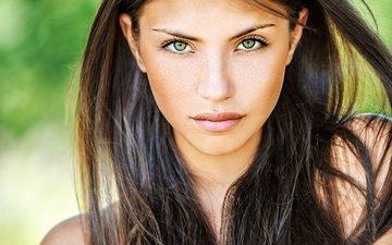 девушка, взгляд, волосы, зеленые глаза, веснушки