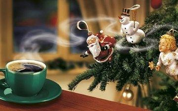 новый год, елка, кофе, снеговик, рождество, санта