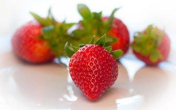 макро, красная, клубника, ягоды