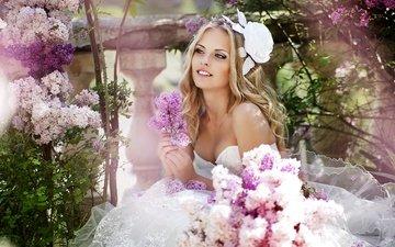 цветы, девушка, улыбка, радость, невесты, свадьба, невеста, смайл, фата, венчание, gевочка, bouguet of flowers, veils