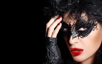девушка, маска, портрет, брюнетка, взгляд, модель, волосы, лицо, макияж, женщина, красива, брюнет, грим