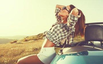 девушка, настроение, волосы, отдых, свобода, женщина, автомобиль, расслабление