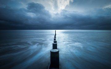 the sky, storm, sea, piles, cloudy, seascape, pillars