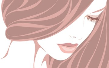 girl, vector, hair, eyelashes, closed eyes