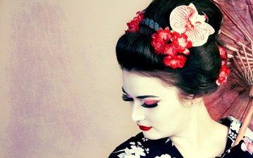 цветы, девушка, лицо, макияж, прическа, гейша, ресницы