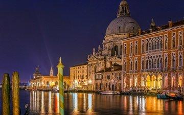 венеция, канал, ночной город, набережная, италия, здания, гранд-канал, grand canal, санта-мария-делла-салюте, собор санта-мария делла салюте, базилика, большой канал, дорсодуро