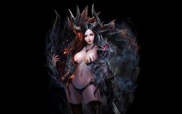 девушка, оружие, меч, фантастика, взгляд, дракон, черный фон, эротика