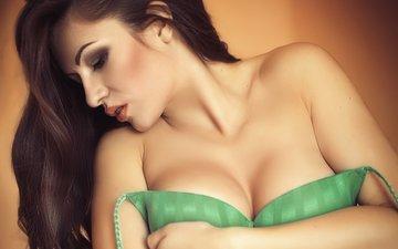 модель, профиль, грудь, макияж, эротика