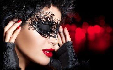 девушка, маска, портрет, брюнетка, модель, лицо, брюнет, закрытые глаза, глаза закрыты