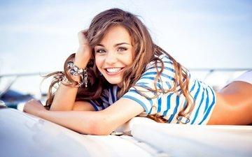 девушка, улыбка, волосы, лицо, девочки, рубашка, смайл, грань, женщин, волос, анна кончаковская