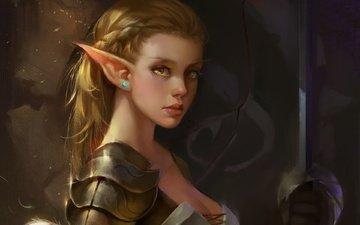 art, girl, warrior, blonde, sword, fiction, elf, painting, armor, fantasy, artwork