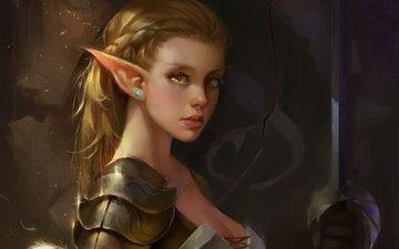 арт, девушка, воин, блондинка, меч, фантастика, эльф, живопись, доспехи, искусство, фантазии, блонд, бронетехника, artwork, gевочка