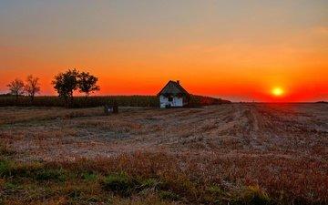 солнце, закат, поле, дом, сумерки, ферма, вс, сельская местность, dusk, fireball, полумрак, countryside, farmland