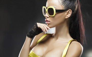 девушка, очки, модель, макияж, мода, горячая, модел