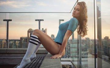 девушка, фото, город, ножки, кофта, балкон, шатенка, обзор, гольфы, gевочка, jason harynuk, модел, kristy dinsmore