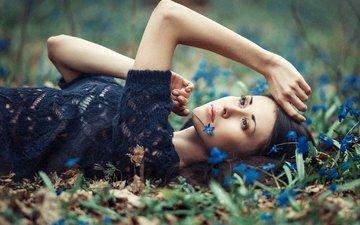 цветы, девушка, взгляд, фотограф, лежа, julia sariy