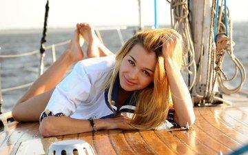море, блондинка, улыбка, взгляд, яхта, палуба, кареглазая, kaleesy, carin e