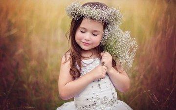 платье, поле, девочка, ребенок, венок, в платье, маленькая девочка, дитя