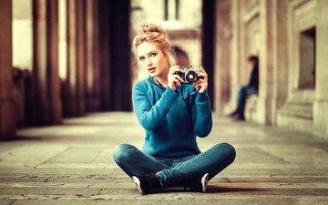 девушка, фотоаппарат, lods franck